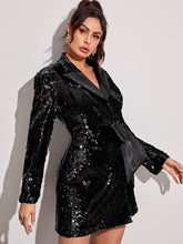 Load image into Gallery viewer, DRESS Knot Side Lapel Collar Sequin Dress - EK CHIC