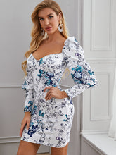 Load image into Gallery viewer, DRESS Sweetheart Neck Gigot Sleeve Floral Dress - EK CHIC