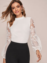 Load image into Gallery viewer, TOP  Frilled Neck Lace Sheer Lantern Sleeve Blouse - EK CHIC