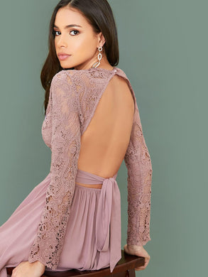 DRESS Lace Bodice Backless Tie Detail Dress - EK CHIC