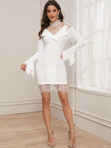 DRESS Eyelash Lace Yoke Double Button Flounce Sleeve Dress - EK CHIC