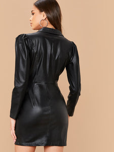 DRESS Notched Collar Faux Leather Dress - EK CHIC