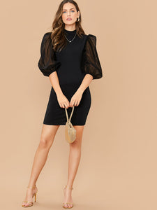 DRESS Mock-Neck Mesh Balloon Sleeve Bodycon Dress - EK CHIC