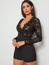 Load image into Gallery viewer, JUMPSUIT Sheer Guipure Lace Bodice Surplice Front Romper - EK CHIC