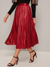 Load image into Gallery viewer, SKIRT Solid Elastic Waist Pleated Skirt - EK CHIC