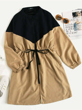 Load image into Gallery viewer, JACKET/COAT Plus Two Tone Drawstring Waist Longline Coat - EK CHIC