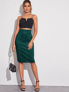 SKIRT Zipper Back Wide Waistband Split Hem Skirt - EK CHIC