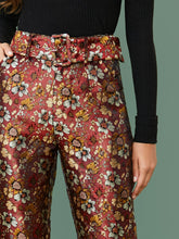 Load image into Gallery viewer, PANTS Adjustable Belted Jacquard Straight Leg Pants - EK CHIC
