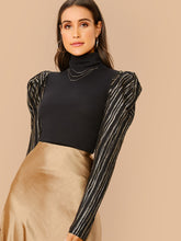Load image into Gallery viewer, TOPS High Neck Glitter Striped Gigot Sleeve Top - EK CHIC