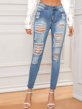 Load image into Gallery viewer, JEANS Bleached Wash Distressed Jeans - EK CHIC