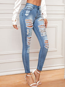 JEANS Bleached Wash Distressed Jeans - EK CHIC