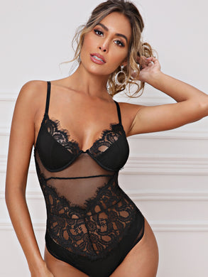 LINGERIE Eyelash Lace Sheer Mesh Bodysuit - EK CHIC
