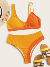 Load image into Gallery viewer, BIKINI Two Tone Top With High Waist Bikini Set - EK CHIC