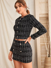 Load image into Gallery viewer, TWO PIECE SET Raw Trim Tweed Jacket & Button Detail Skirt Set - EK CHIC