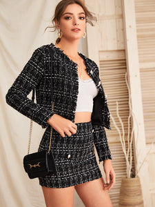 TWO PIECE SET Raw Trim Tweed Jacket & Button Detail Skirt Set - EK CHIC