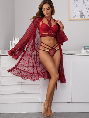 LINGERIE 3pack Polka Dot Lace Trim Mesh Lingerie Set & Belted Robe - EK CHIC