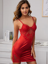 Load image into Gallery viewer, LINGERIE Contrast Lace Satin Slips - EK CHIC