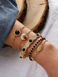 JEWELRY 5pcs Bead Decor Bracelet Set - EK CHIC