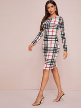 Load image into Gallery viewer, DRESS Plaid Print Bodycon Dress - EK CHIC