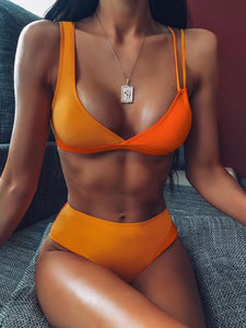 BIKINI Two Tone Top With High Waist Bikini Set - EK CHIC