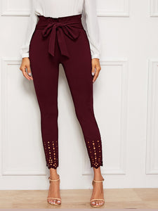 PANTS Paperbag Waist Scallop Edge Laser Cut Skinny Pants - EK CHIC