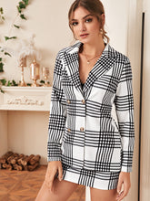 Load image into Gallery viewer, TWO PIECE SET Double Button Blazer & Mini Skirt Set - EK CHIC