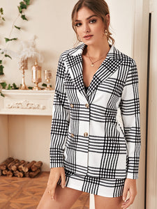 TWO PIECE SET Double Button Blazer & Mini Skirt Set - EK CHIC