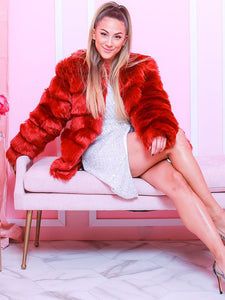 FAUX FUR COAT Open Front Textured Faux Fur Coat - EK CHIC