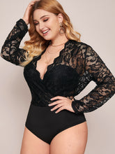 Load image into Gallery viewer, BODYSUIT Plus Contrast Lace Scallop Bodysuit - EK CHIC