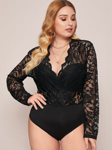 BODYSUIT Plus Contrast Lace Scallop Bodysuit - EK CHIC