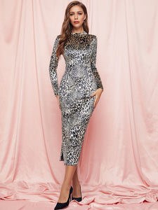 DRESS SBetro Mock-neck Leopard Velvet Bodycon Dress - EK CHIC