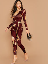 Load image into Gallery viewer, JUMPSUIT Self Belted Chain Print Jumpsuit - EK CHIC