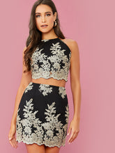 Load image into Gallery viewer, TWO PIECE SET Lace-up Back Embroidered Mesh Overlay Top and Skirt Set - EK CHIC