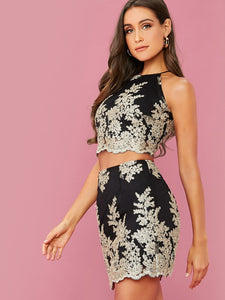 TWO PIECE SET Lace-up Back Embroidered Mesh Overlay Top and Skirt Set - EK CHIC