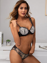 Load image into Gallery viewer, LINGERIE Embroidery Mesh Underwire Lingerie Set - EK CHIC
