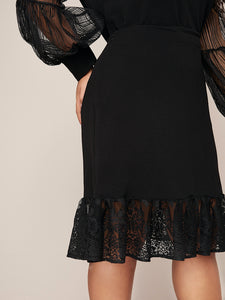 TWO PIECE SET Plus Lace Lantern Sleeve Top & Ruffle Hem Skirt Set - EK CHIC