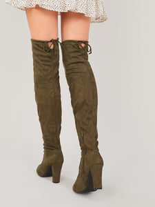 BOOTS Almond Toe Over The Knee Slim Heel Boots - EK CHIC