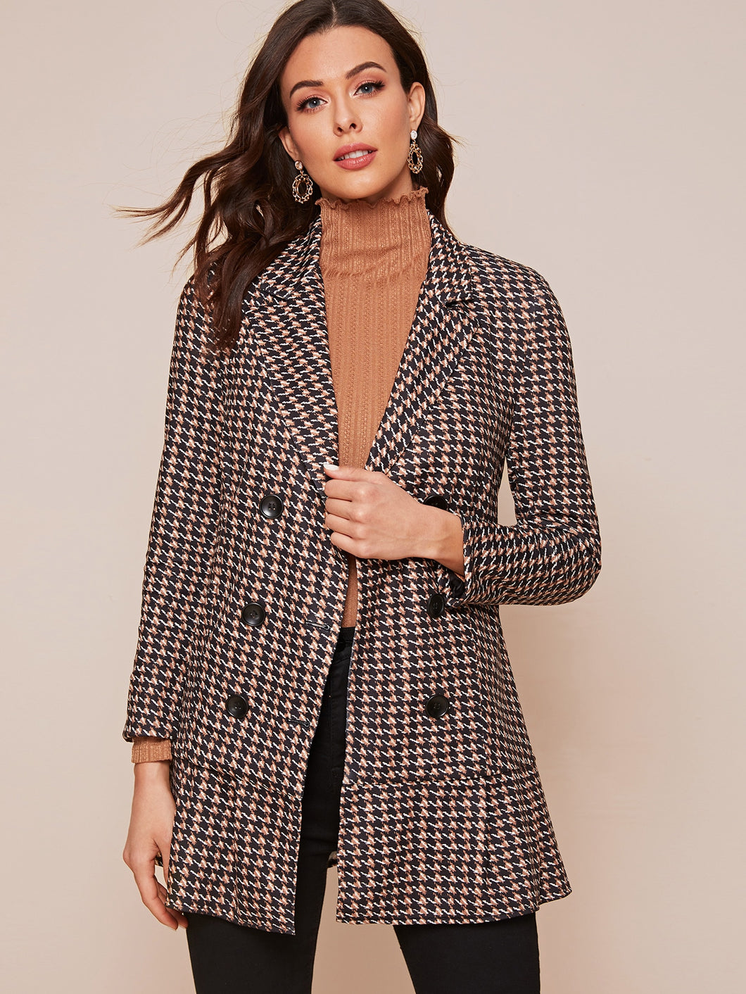 JACKET/COAT Double Breasted Lapel Neck Ruffle Hem Blazer - EK CHIC