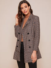 Load image into Gallery viewer, JACKET/COAT Double Breasted Lapel Neck Ruffle Hem Blazer - EK CHIC