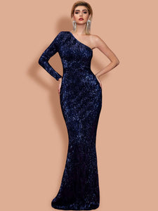 DRESS One Shoulder Sequin Bodycon Prom Dress - EK CHIC
