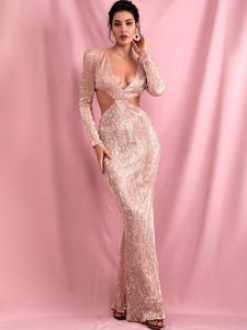 DRESS Plunging Neck Cut-out Sequin Bodycon Prom Dress - EK CHIC