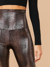 Load image into Gallery viewer, LEGGINGS Wide Waistband Crocodile Embossed Leggings - EK CHIC