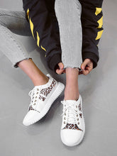 Load image into Gallery viewer, SNEAKERS Lace-up Front Leopard Panel Sneakers - EK CHIC