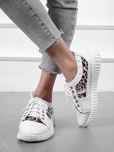 SNEAKERS Lace-up Front Leopard Panel Sneakers - EK CHIC