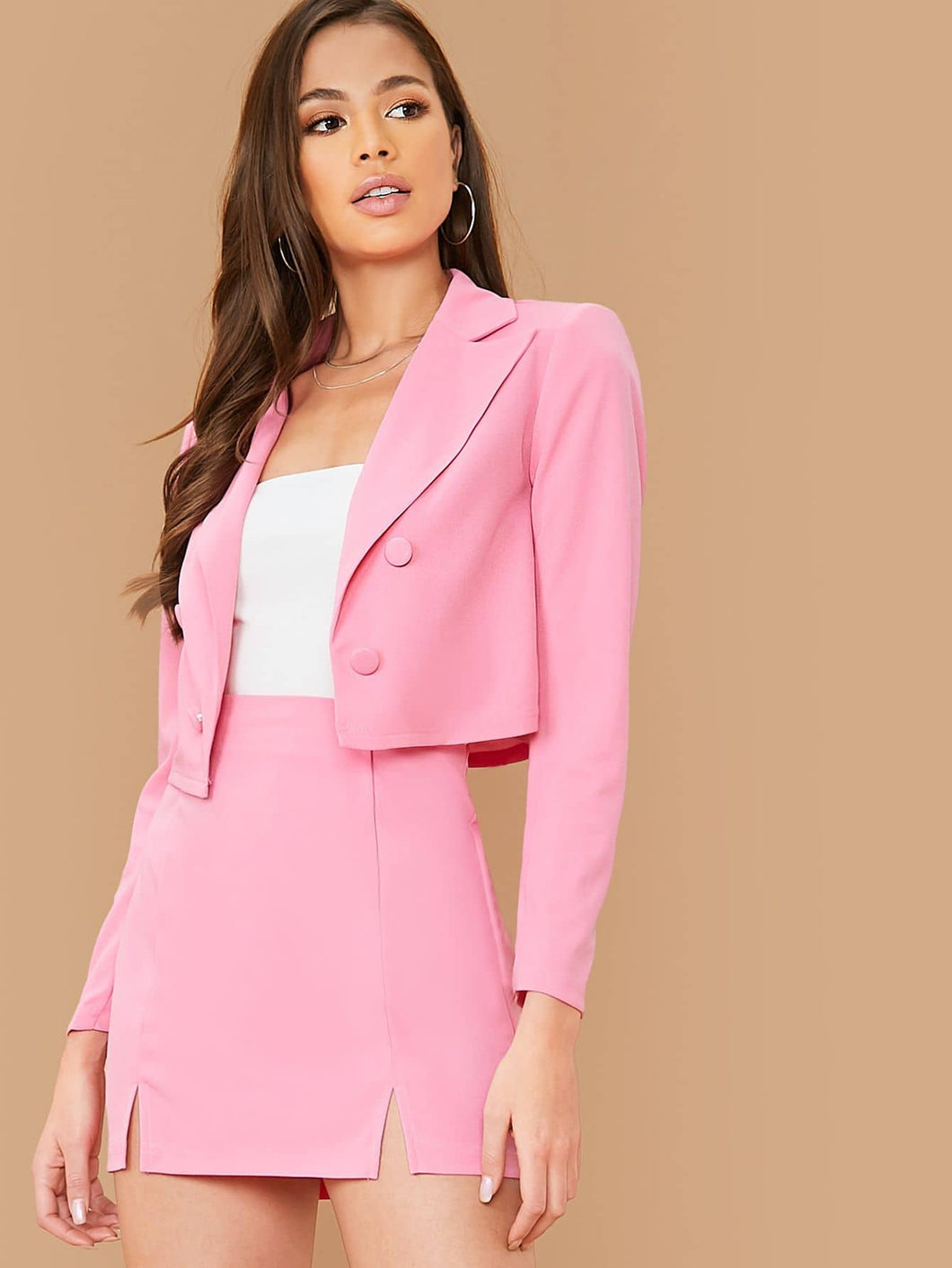 TWO PIECE SET Double Breasted Crop Blazer and M-split Skirt Set - EK CHIC