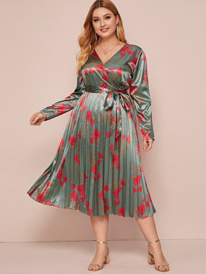 DRESS Plus Surplice Neck Self Belted Pleated Floral Stain Dress - EK CHIC