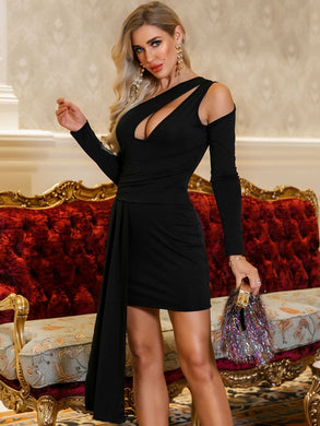 DRESSES Black Asymmetrical Neck Cut-out Draped Bodycon Dress - EK CHIC