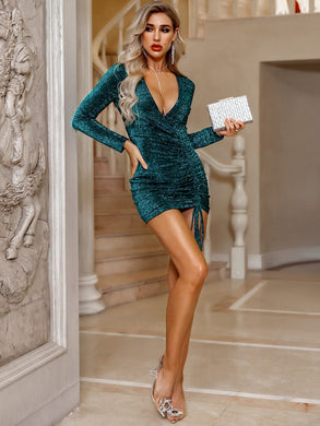 DRESSES Green Deep V Neck Drawstring Ruched Glitter Bodycon Dress - EK CHIC