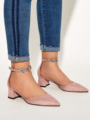 SHOES Rhinestone Decor Point Toe Chunky Heels - EK CHIC