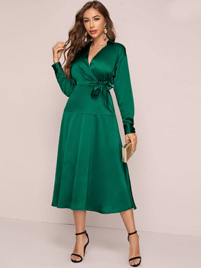 DRESS Tie Waist Satin Wrap Dress - EK CHIC